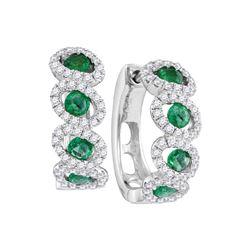 Round Emerald Diamond Hoop Earrings 1-3/8 Cttw 14kt White Gold