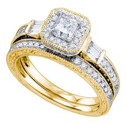 Diamond Bridal Wedding Engagement Ring Band Set 1-1/5 Cttw 14kt Yellow Gold