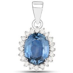 2.55 ctw Sapphire Blue & Diamond Pendant 14K White Gold - REF-123M6F