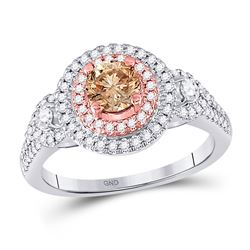 Round Brown Diamond Solitaire Bridal Wedding Engagement Ring 1.00 Cttw 14kt Two-tone Gold