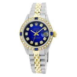 Rolex Pre-owned 26mm Womens Custom Blue Vignette Two Tone - REF-530H3N