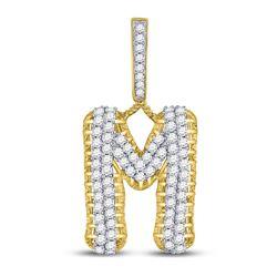 "Mens Diamond ""M"" Letter Charm Pendant 1-1/2 Cttw 10kt Yellow Gold"
