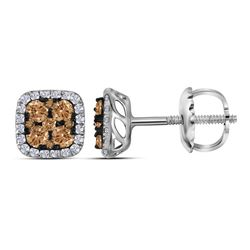 Round Brown Diamond Square Cluster Earrings 1/2 Cttw 14kt White Gold