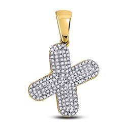 Mens Diamond Letter X Bubble Charm Pendant 1/2 Cttw 10kt Yellow Gold