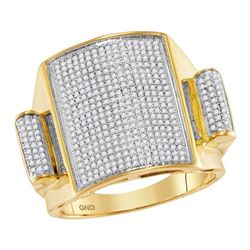 Mens Round Pave-set Diamond Rectangle Dome Cluster Ring 3/4 Cttw 10kt Yellow Gold