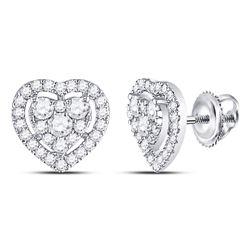 Diamond Heart Cluster Earrings 3/4 Cttw 10kt White Gold