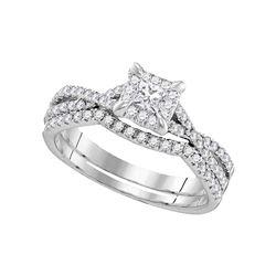 Diamond Square Halo Bridal Wedding Engagement Ring Band Set 5/8 Cttw 10kt White Gold