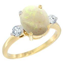 1.61 CTW Opal & Diamond Ring 14K Yellow Gold - REF-68M3A