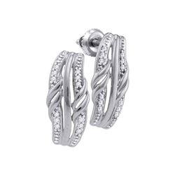 Diamond Rectangle Cluster Stud Earrings 1/12 Cttw 10kt White Gold