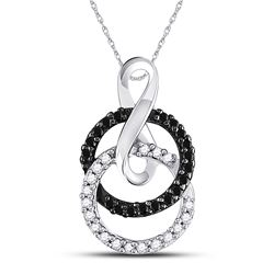 Round Black Color Enhanced Diamond Double Circle Pendant 1/5 Cttw 10kt White Gold