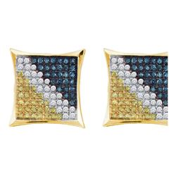 Mens Round Blue Color Enhanced Diamond Square Kite Cluster Earrings 1/4 Cttw 10kt Yellow Gold