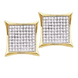Diamond Square Cluster Screwback Earrings 1/2 Cttw 10kt Yellow Gold