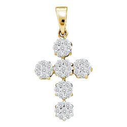 Diamond Cluster Cross Religious Pendant 1/2 Cttw 14kt Yellow Gold