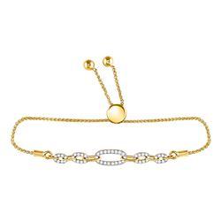 Diamond Oval Link Bolo Bracelet 1/3 Cttw 10kt Yellow Gold