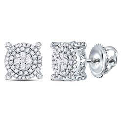 Diamond Circle Cluster Earrings 5/8 Cttw 14kt White Gold