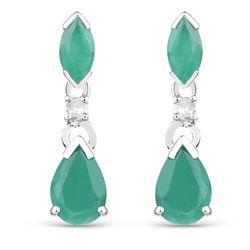 1.03 ctw Emerald & Diamond Earrings 10K White Gold - REF-15T4X