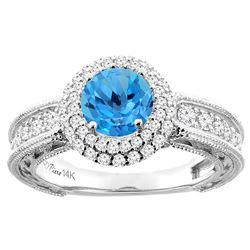 1.50 CTW Swiss Blue Topaz & Diamond Ring 14K White Gold - REF-91F8N