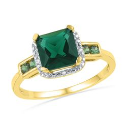 Lab-Created Emerald Solitaire Ring 1/5 Cttw 10kt Yellow Gold