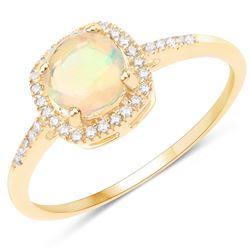 0.60 ctw Ethiopian Opal & Diamond Ring 14K Yellow Gold - REF-33T2X
