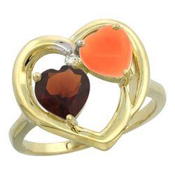 1.31 CTW Garnet & Diamond Ring 14K Yellow Gold - REF-33V5R