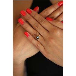 Natural 0.57 ctw Black Diamond Solitaire Ring 14K White Gold - REF-25H8M