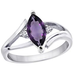 1.04 CTW Amethyst & Diamond Ring 14K White Gold - REF-31H2M