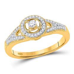 Diamond Encircled Solitaire Milgrain Promise Bridal Ring 1/4 Cttw 10kt Yellow Gold