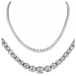 Natural 14.14CTW VS2/I-J Diamond Tennis Necklace 18K White Gold - REF-1464F8R