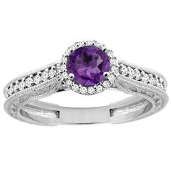0.99 CTW Amethyst & Diamond Ring 14K White Gold - REF-57Y2V