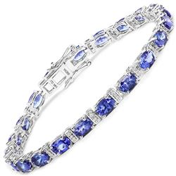 9.43 ctw Tanzanite & Diamond Bracelet 14K White Gold - REF-154F2W