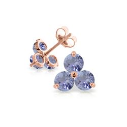 Genuine 1.50 ctw Tanzanite Earrings 14KT Rose Gold - REF-25P4H