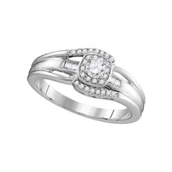 Diamond Solitaire Halo Bridal Wedding Engagement Ring 1/2 Cttw 10kt White Gold
