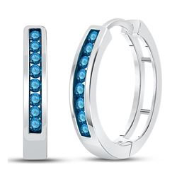 Blue Color Enhanced Round Channel-Set Diamond Hoop Earrings 1/2 Cttw 14k White Gold