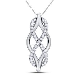 Diamond Vertical Infinity Pendant 1/12 Cttw 10kt White Gold