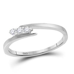 Diamond 3-stone Promise Bridal Engagement Ring 1/10 Cttw 10kt White Gold
