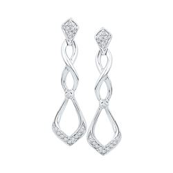 Diamond Cascading Teardrop Dangle Earrings 1/10 Cttw 10kt White Gold