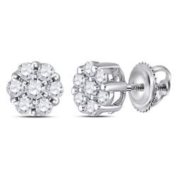 Diamond Flower Cluster Earrings 1/4 Cttw 14kt White Gold