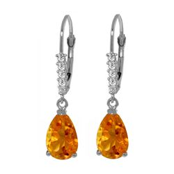 Genuine 3.15 ctw Citrine & Diamond Earrings 14KT White Gold - REF-44K3V