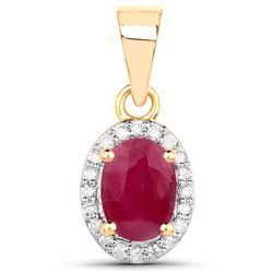 0.65 ctw Ruby & White Diamond Pendant 14K Yellow Gold - REF-31Y6N