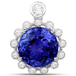 14.36 ctw Tanzanite & Diamond Pendant 18K White Gold - REF-1596X2Y