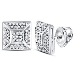 Mens Diamond Square Cluster Stud Earrings 1/5 Cttw 10kt White Gold