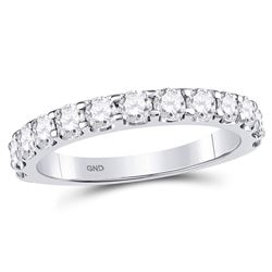 Diamond Single Row Machine-set Wedding Band 1.00 Cttw 14kt White Gold