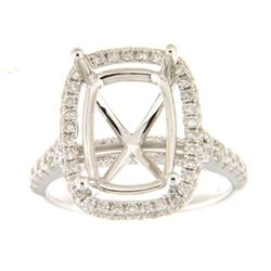 0.85 CTW Diamond Semi Mount Ring 14K White Gold - REF-84N7Y