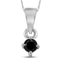 Round Black Color Enhanced Diamond Solitaire Pendant 1/8 Cttw 10kt White Gold