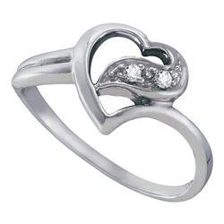 Diamond Simple Heart Ring 1/20 Cttw 10kt White Gold