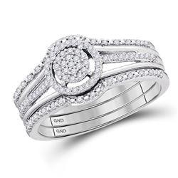 Diamond Cluster 3-Piece Bridal Wedding Engagement Ring Band Set 1/4 Cttw 10kt White Gold