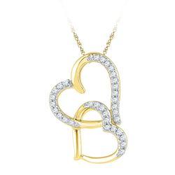 Diamond Linked Double Heart Pendant 1/10 Cttw 10kt Yellow Gold