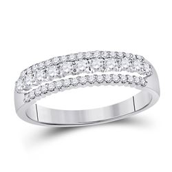 Diamond Classic Anniversary Band Ring 1/2 Cttw 14kt White Gold