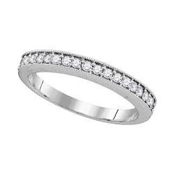 Round Pave-set Diamond Single Row Wedding Band 1/4 Cttw 10kt White Gold