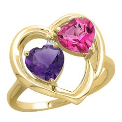 2.61 CTW Diamond, Amethyst & London Blue Topaz Ring 14K Yellow Gold - REF-33N9Y